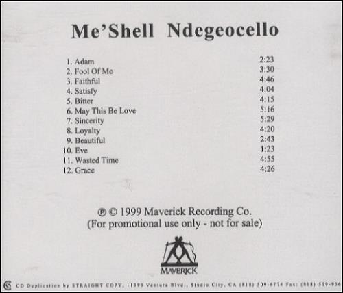Me'Shell Ndegeocello Me'shell Ndegeocello CD-R acetate US MSLCRME139310