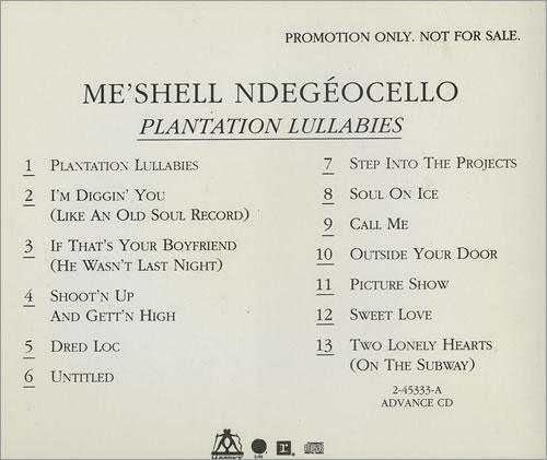 Me'Shell Ndegeocello Plantation Lullabies CD album (CDLP) US MSLCDPL440282