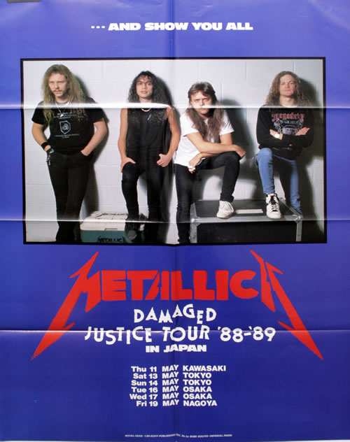 metallica and justice for all tour poster japanese 2lp