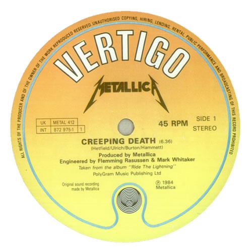 "Metallica Creeping Death 12"" vinyl single (12 inch record / Maxi-single) UK MET12CR89944"