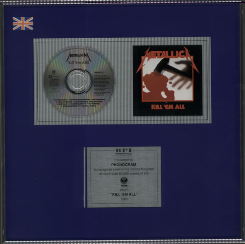 Metallica Kill 'em All award disc UK METAWKI138597