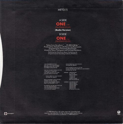 "Metallica One - Stickered Sleeve + Insert 7"" vinyl single (7 inch record) UK MET07ON688195"