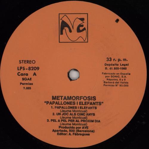 Metamorfosis Papallones I Elefants - Autographed vinyl LP album (LP record) Spanish 2NULPPA759678