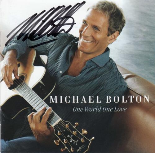 Michael Bolton One World One Love - Autographed CD album (CDLP) UK BOLCDON684065