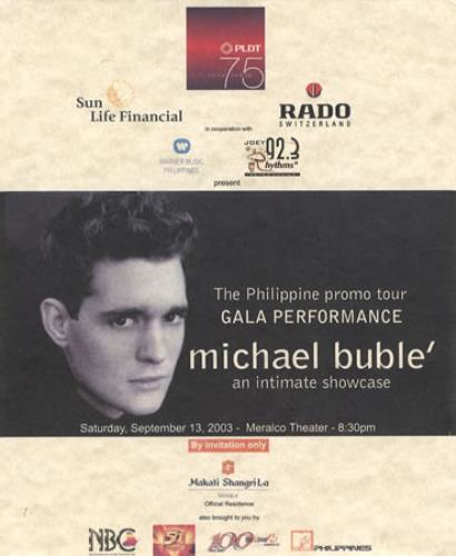 Michael Buble An Intimate Showcase memorabilia Philippino M6YMMAN367823