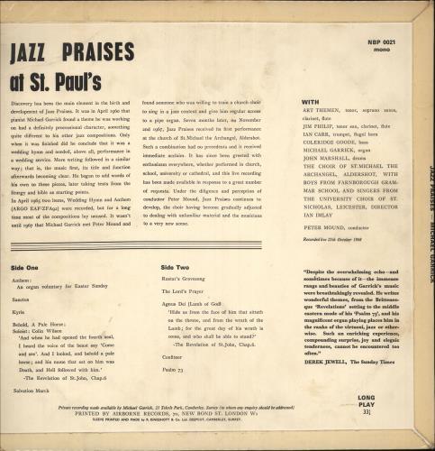Michael Garrick Jazz Praises vinyl LP album (LP record) UK MDQLPJA549805