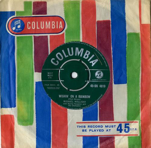 "Michael Holliday Wishin' On A Rainbow 7"" vinyl single (7 inch record) UK HO-07WI614461"