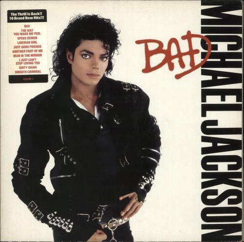 Michael Jackson Bad - tracklist stickered + promo stamped vinyl LP album (LP record) UK M-JLPBA734536