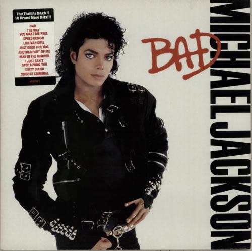Michael Jackson Bad - tracklist stickered vinyl LP album (LP record) UK M-JLPBA585836