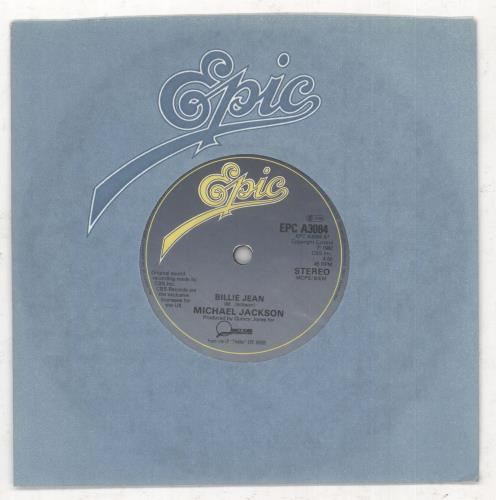 "Michael Jackson Billie Jean - paper label 7"" vinyl single (7 inch record) UK M-J07BI738134"