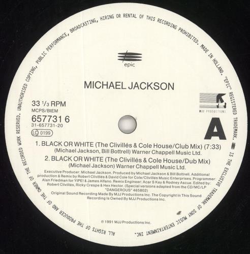 """Michael Jackson Black Or White (The Clivillés & Cole Remixes) 12"""" vinyl single (12 inch record / Maxi-single) Dutch M-J12BL00926"""