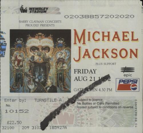 Michael Jackson Dangerous + ticket stub tour programme UK M-JTRDA676916