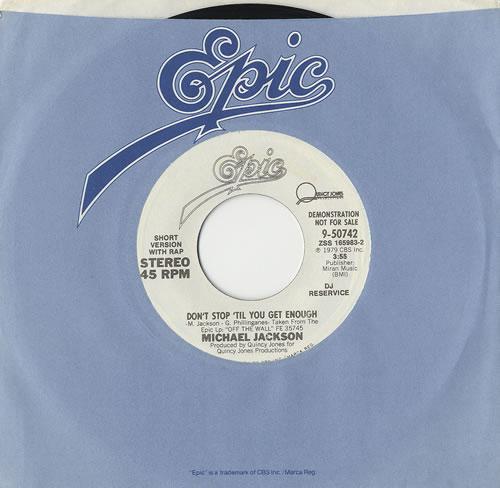 "Michael Jackson Don't Stop 'Til You Get Enough 7"" vinyl single (7 inch record) US M-J07DO127219"