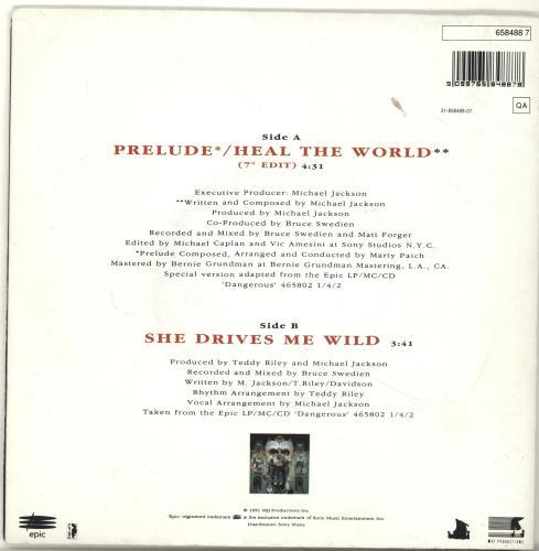 "Michael Jackson Heal The World - Poster Sleeve 7"" vinyl single (7 inch record) UK M-J07HE11899"