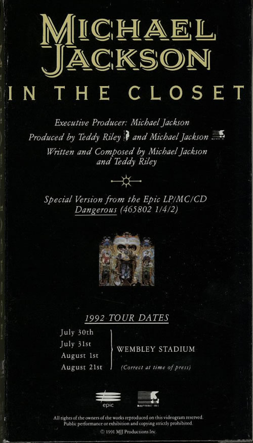 Michael Jackson In The Closet video (VHS or PAL or NTSC) UK M-JVIIN160700