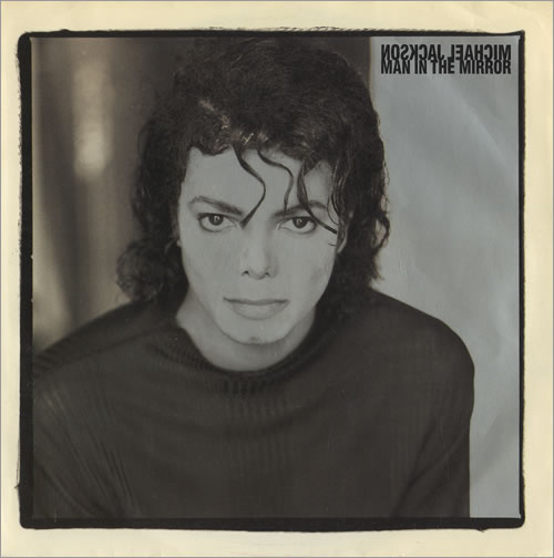 "Michael Jackson (White Man with black hair) looking into the camera - ""Man in the Mirror"" - Songs that encourage"
