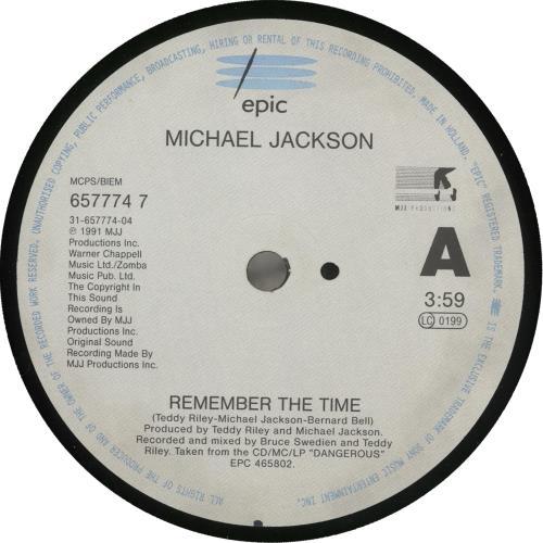"Michael Jackson Remember The Time 7"" vinyl single (7 inch record) UK M-J07RE714352"