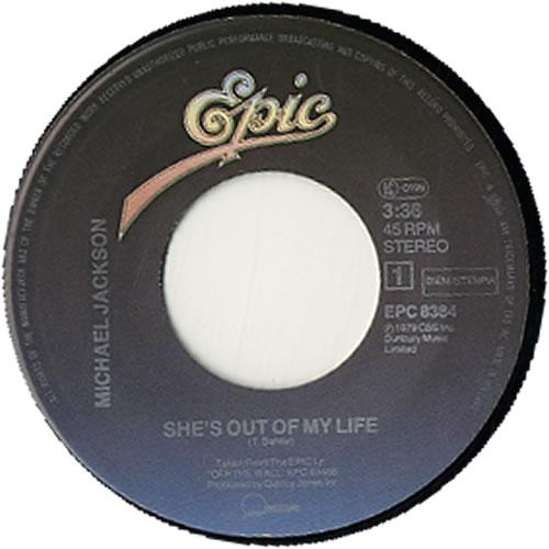 "Michael Jackson She's Out Of My Life - P/S 7"" vinyl single (7 inch record) Dutch M-J07SH625824"
