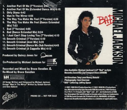 Michael Jackson The Bad Mixes Numbered Us Promo Cd Album
