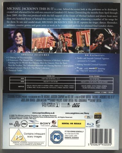 Michael Jackson This Is It Blu Ray DVD UK M-JBRTH695794