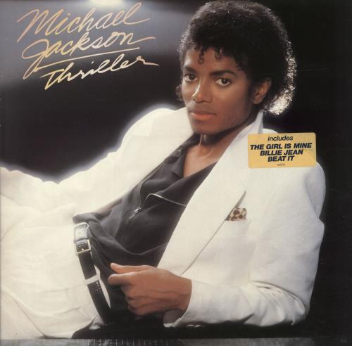 Michael Jackson Thriller - TGIM, BJ & BI Sticker vinyl LP album (LP record) Dutch M-JLPTH701897