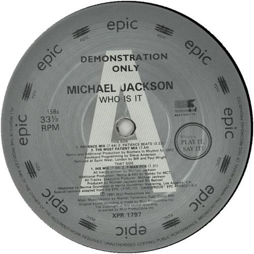 "Michael Jackson Who Is It? 12"" vinyl single (12 inch record / Maxi-single) UK M-J12WH06827"