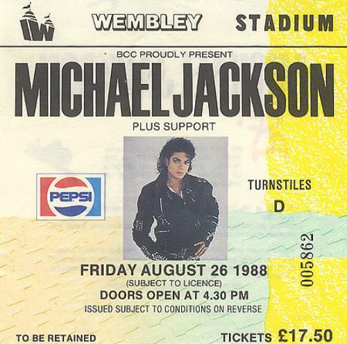 Michael Jackson World Tour 1988 + Ticket Stub tour programme UK M-JTRWO246183