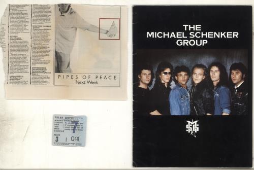 Michael Schenker Group 1983 Tour Programme + Ticket Stub & Press Clipping tour programme UK MSGTRTO706627