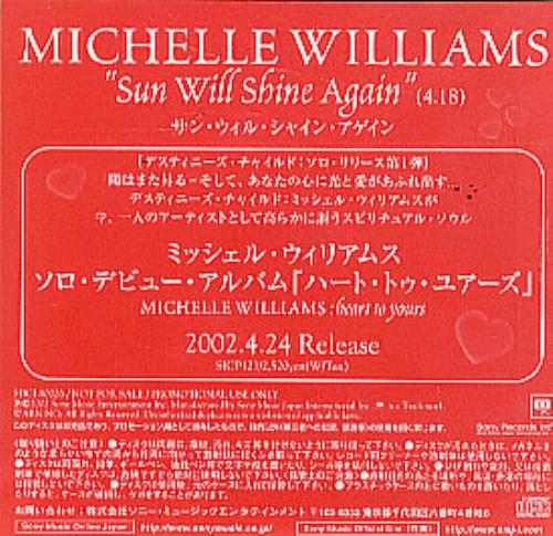 "Michelle Williams Sun Will Shine Again CD single (CD5 / 5"") Japanese M.WC5SU228200"