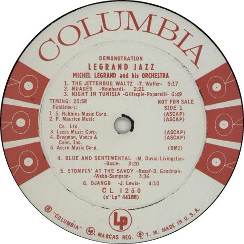 Michel Legrand Legrand Jazz - Six eye promo vinyl LP album (LP record) US MLGLPLE660215