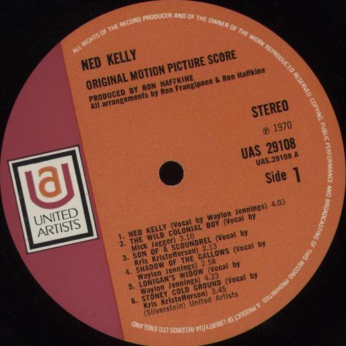 Mick Jagger Ned Kelly Orig Red Amp Pink Label Uk Vinyl Lp