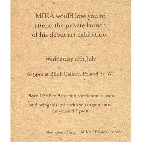 Mika art exhibition invitation uk memorabilia 411547 invitation mika art exhibition invitation memorabilia uk mk5mmar411547 stopboris Images