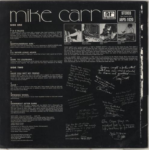 Mike Carr Mike Carr - Autographed vinyl LP album (LP record) UK MV5LPMI708899