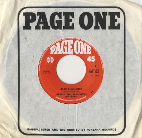 """Mike Lorrayne Boom Bang-A-Bang 7"""" vinyl single (7 inch record) UK 8ML07BO482792"""