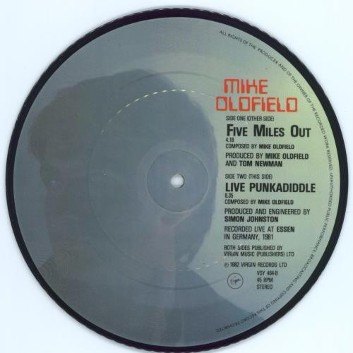 """Mike Oldfield Five Miles Out 7"""" vinyl picture disc 7 inch picture disc single UK OLD7PFI771875"""