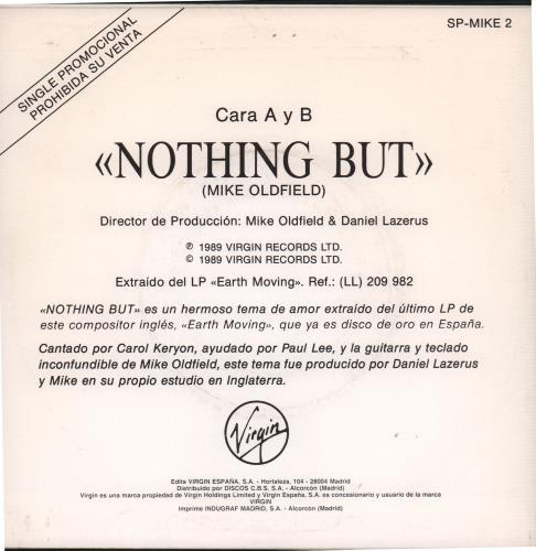 "Mike Oldfield Nothing But 7"" vinyl single (7 inch record) Spanish OLD07NO35694"
