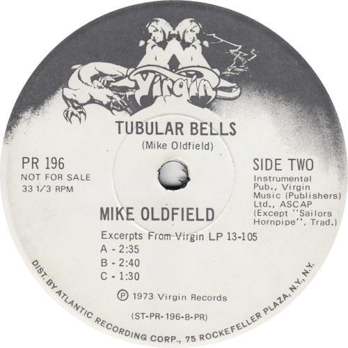 "Mike Oldfield Tubular Bells Excerpts 7"" vinyl single (7 inch record) US OLD07TU222729"