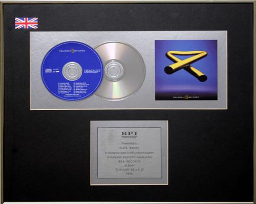 Mike Oldfield Tubular Bells II - Double Platinum award disc UK OLDAWTU560513