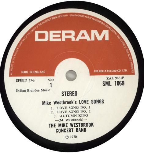 Mike Westbrook Love Songs vinyl LP album (LP record) UK WBKLPLO716673
