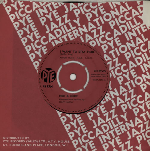 """Miki & Griff I Want To Stay Here 7"""" vinyl single (7 inch record) UK M+G07IW571913"""