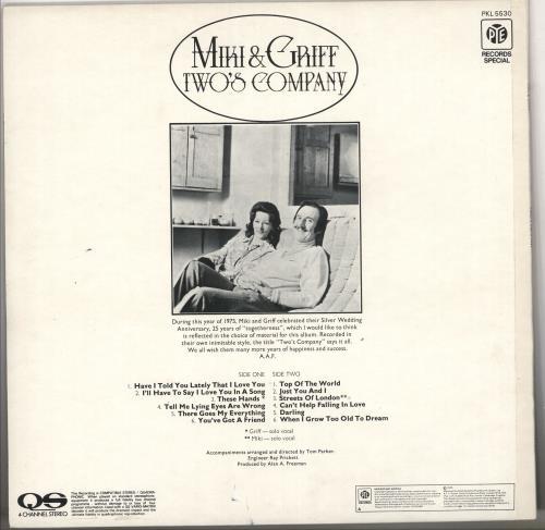 Miki & Griff Two's Company vinyl LP album (LP record) UK M+GLPTW732088