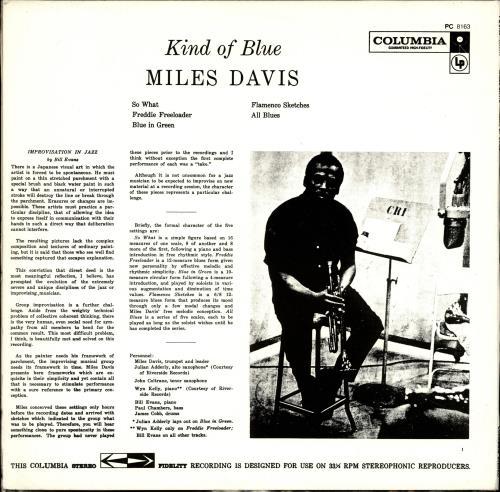 Miles Davis Kind Of Blue vinyl LP album (LP record) US MDALPKI699219