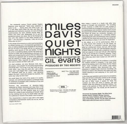 Miles Davis Quiet Night - 180gram Vinyl - Sealed vinyl LP album (LP record) Russian MDALPQU730540