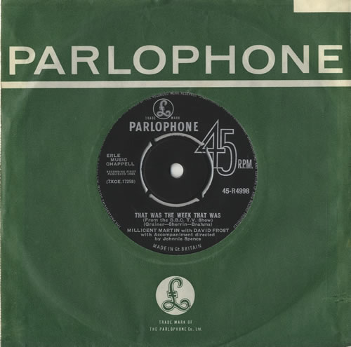 """Millicent Martin That Was The Week That Was 7"""" vinyl single (7 inch record) UK M1L07TH512889"""