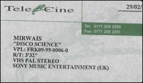 Mirwais Disco Science video (VHS or PAL or NTSC) UK IWSVIDI289877