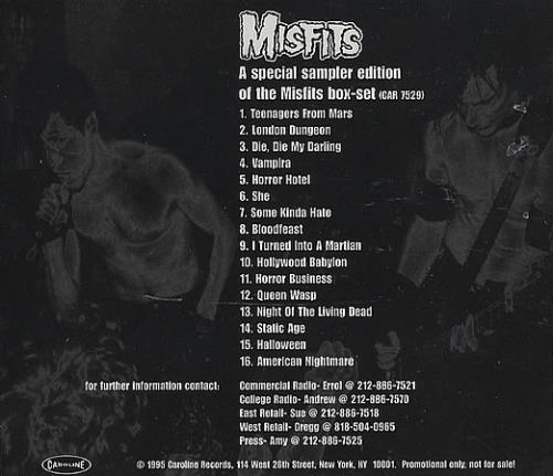 Misfits Box Set Sampler Edition Us Promo Cd Album Cdlp