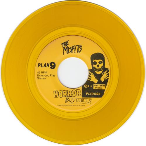 "Misfits Horror Business - Yellow Vinyl - p/s + Inserts 7"" vinyl single (7 inch record) US MFT07HO663305"