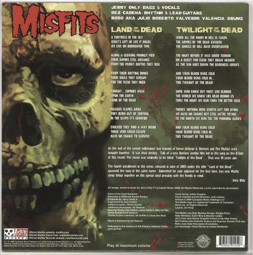 "Misfits Land Of The Dead - Purple Marble vinyl 12"" vinyl single (12 inch record / Maxi-single) US MFT12LA722470"