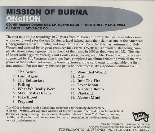 Mission Of Burma ONoffON CD album (CDLP) US ME8CDON465111