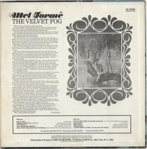 Modern Times The Velvet Fog vinyl LP album (LP record) US M-TLPTH707550